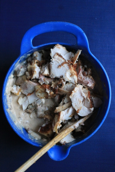 add the leftover turkey and mix all ingredients well
