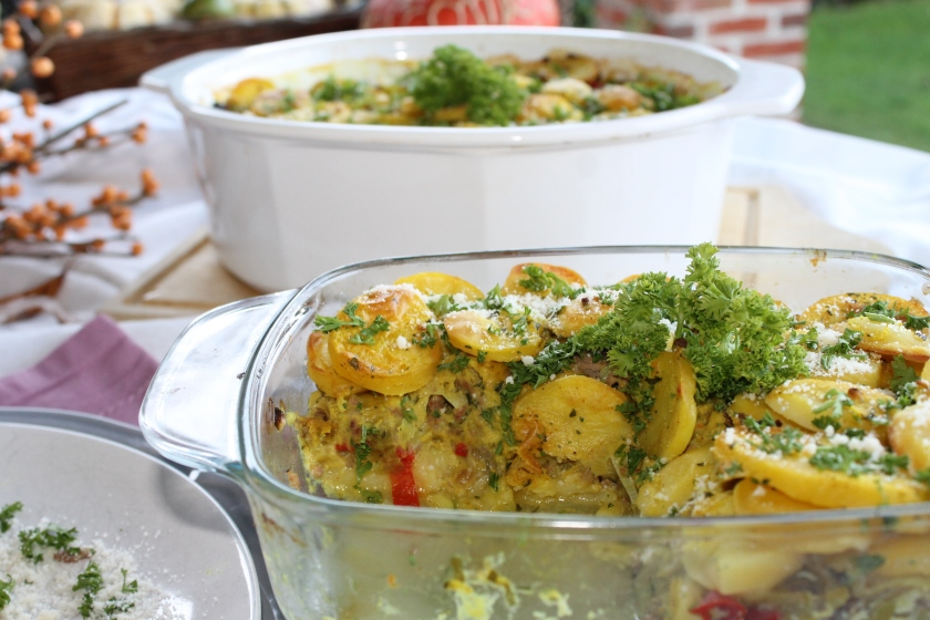 leek-curry casserole