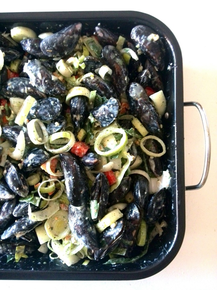 mussels in blue cheese